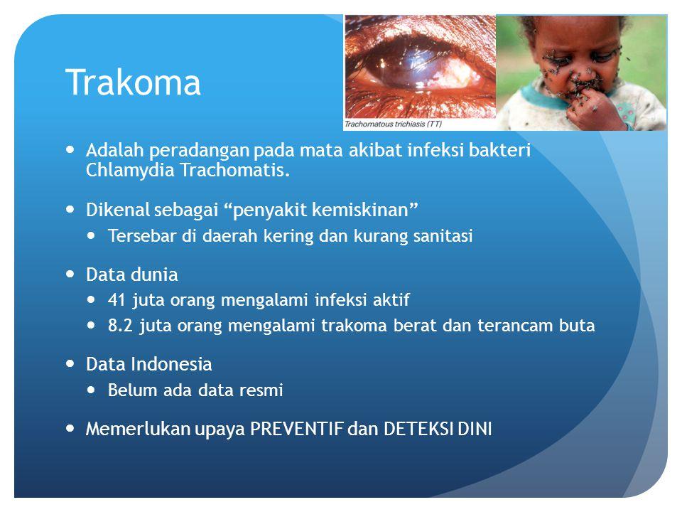 Trakoma Adalah peradangan pada mata akibat infeksi bakteri Chlamydia Trachomatis. Dikenal sebagai penyakit kemiskinan