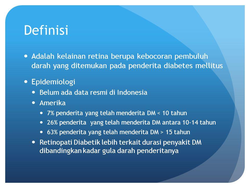 Definisi Adalah kelainan retina berupa kebocoran pembuluh darah yang ditemukan pada penderita diabetes mellitus.