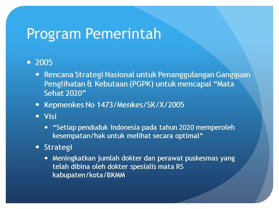 Program Pemerintah 2005. Rencana Strategi Nasional untuk Penanggulangan Gangguan Penglihatan & Kebutaan (PGPK) untuk mencapai Mata Sehat 2020