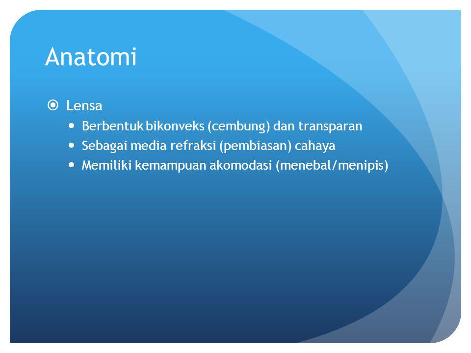 Anatomi Lensa Berbentuk bikonveks (cembung) dan transparan