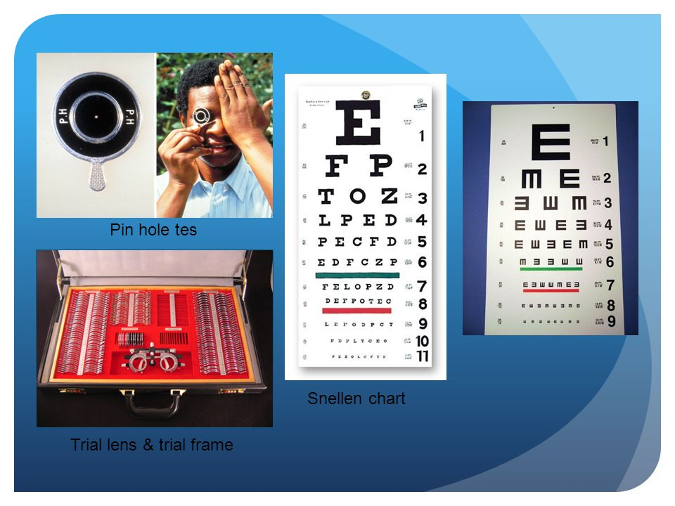 Pin hole tes Snellen chart Trial lens & trial frame