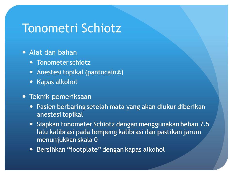 Tonometri Schiotz Alat dan bahan Teknik pemeriksaan Tonometer schiotz