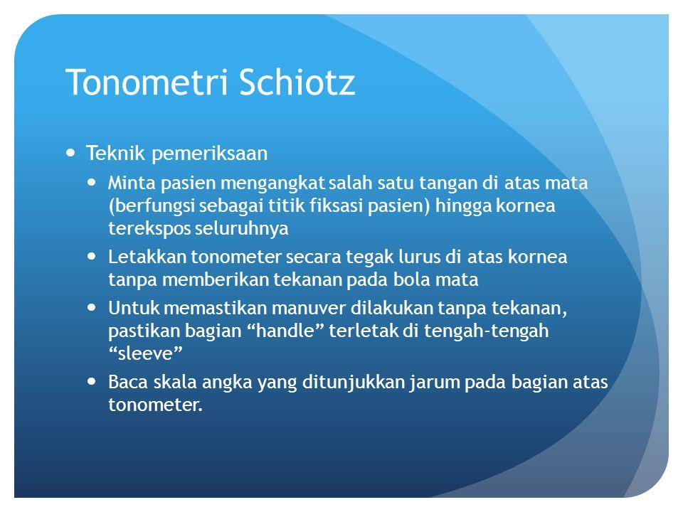 Tonometri Schiotz Teknik pemeriksaan