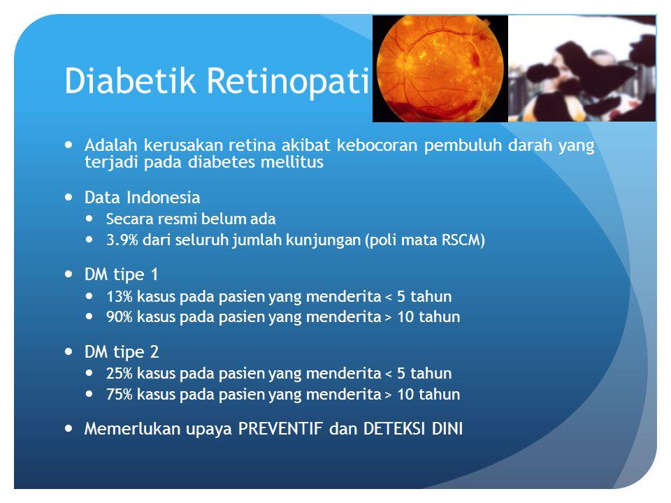 Diabetik Retinopati Adalah kerusakan retina akibat kebocoran pembuluh darah yang terjadi pada diabetes mellitus.
