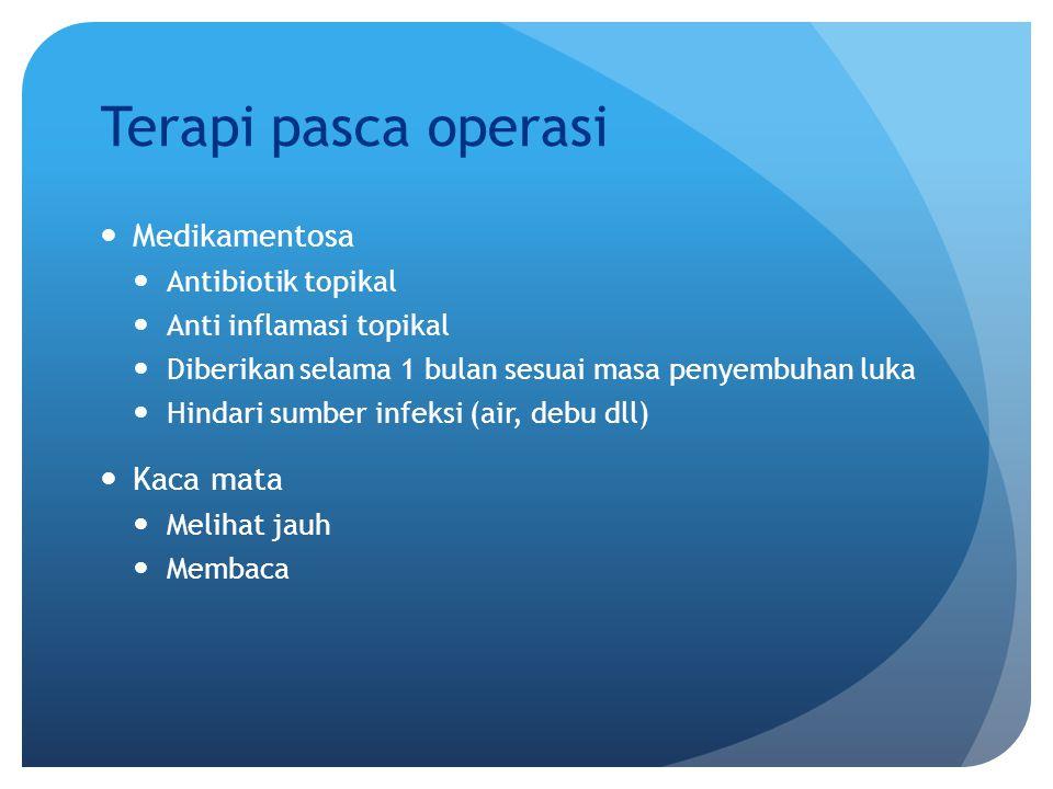 Terapi pasca operasi Medikamentosa Kaca mata Antibiotik topikal