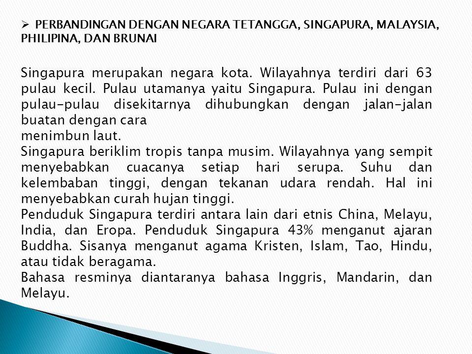 Bahasa resminya diantaranya bahasa Inggris, Mandarin, dan Melayu.