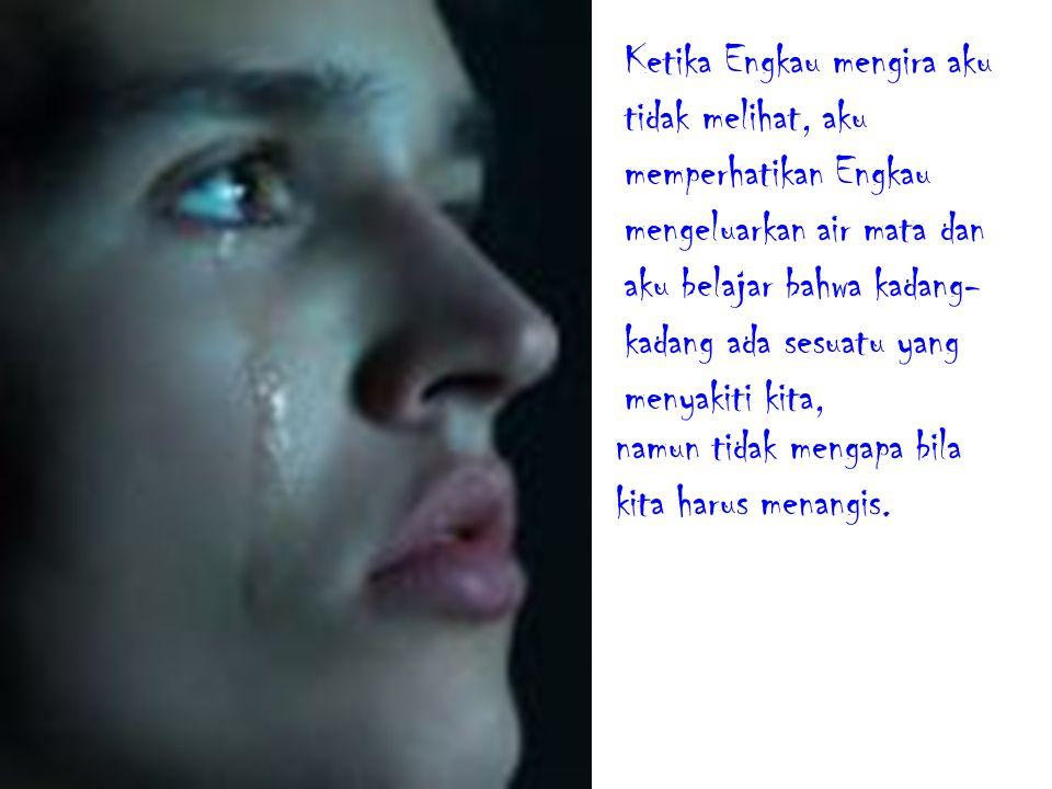 Ketika Engkau mengira aku tidak melihat, aku memperhatikan Engkau mengeluarkan air mata dan aku belajar bahwa kadang-kadang ada sesuatu yang menyakiti kita,