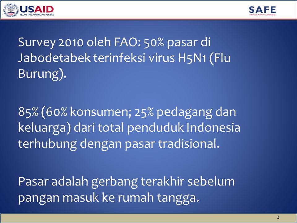 Survey 2010 oleh FAO: 50% pasar di Jabodetabek terinfeksi virus H5N1 (Flu Burung).