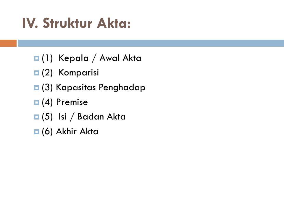IV. Struktur Akta: (1) Kepala / Awal Akta (2) Komparisi