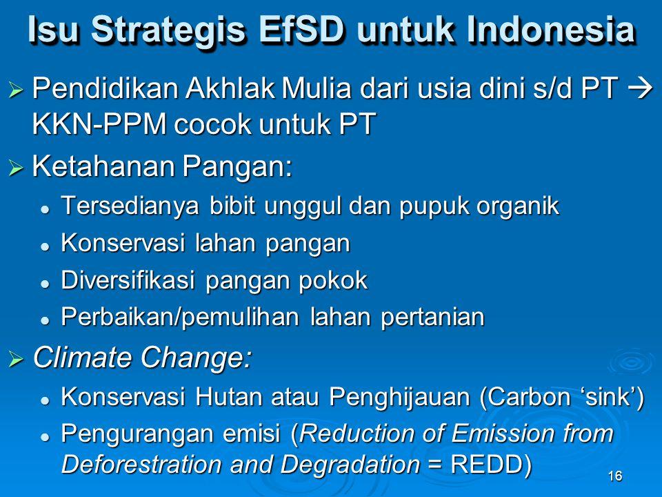Isu Strategis EfSD untuk Indonesia