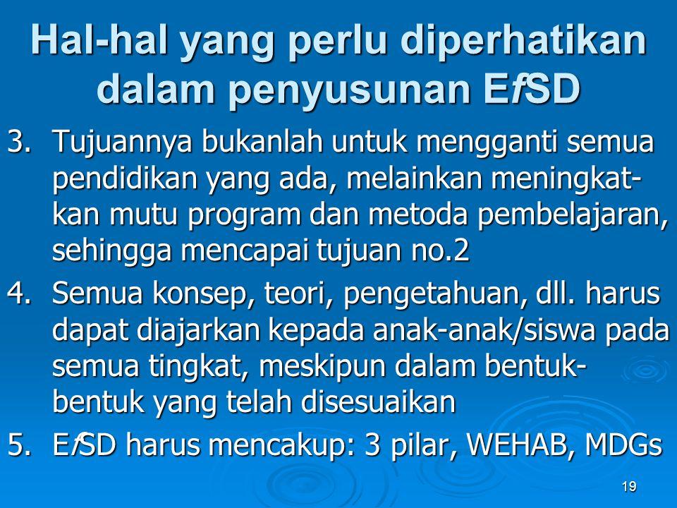 Hal-hal yang perlu diperhatikan dalam penyusunan EfSD