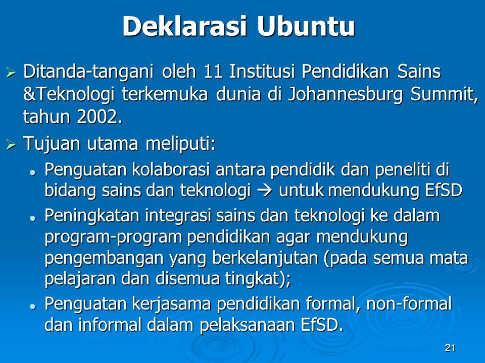 Deklarasi Ubuntu Ditanda-tangani oleh 11 Institusi Pendidikan Sains &Teknologi terkemuka dunia di Johannesburg Summit, tahun 2002.