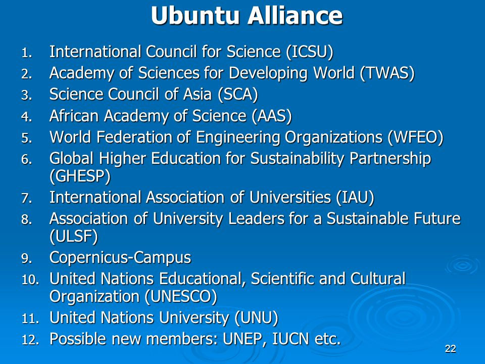 Ubuntu Alliance International Council for Science (ICSU)