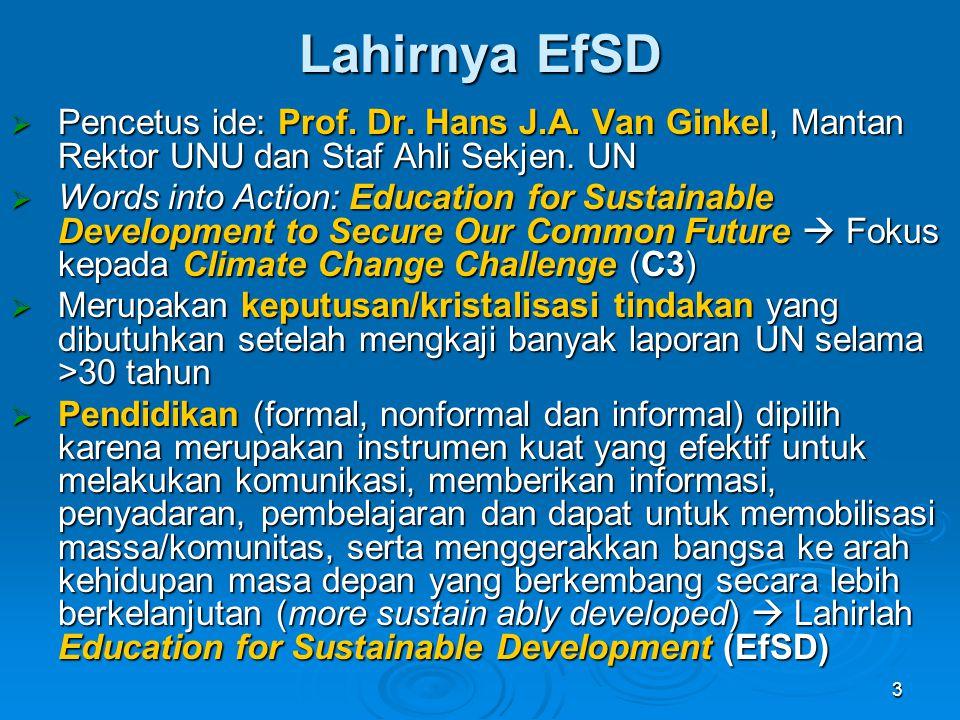 Lahirnya EfSD Pencetus ide: Prof. Dr. Hans J.A. Van Ginkel, Mantan Rektor UNU dan Staf Ahli Sekjen. UN.