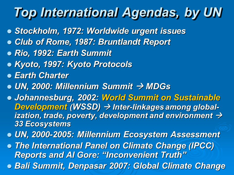 Top International Agendas, by UN
