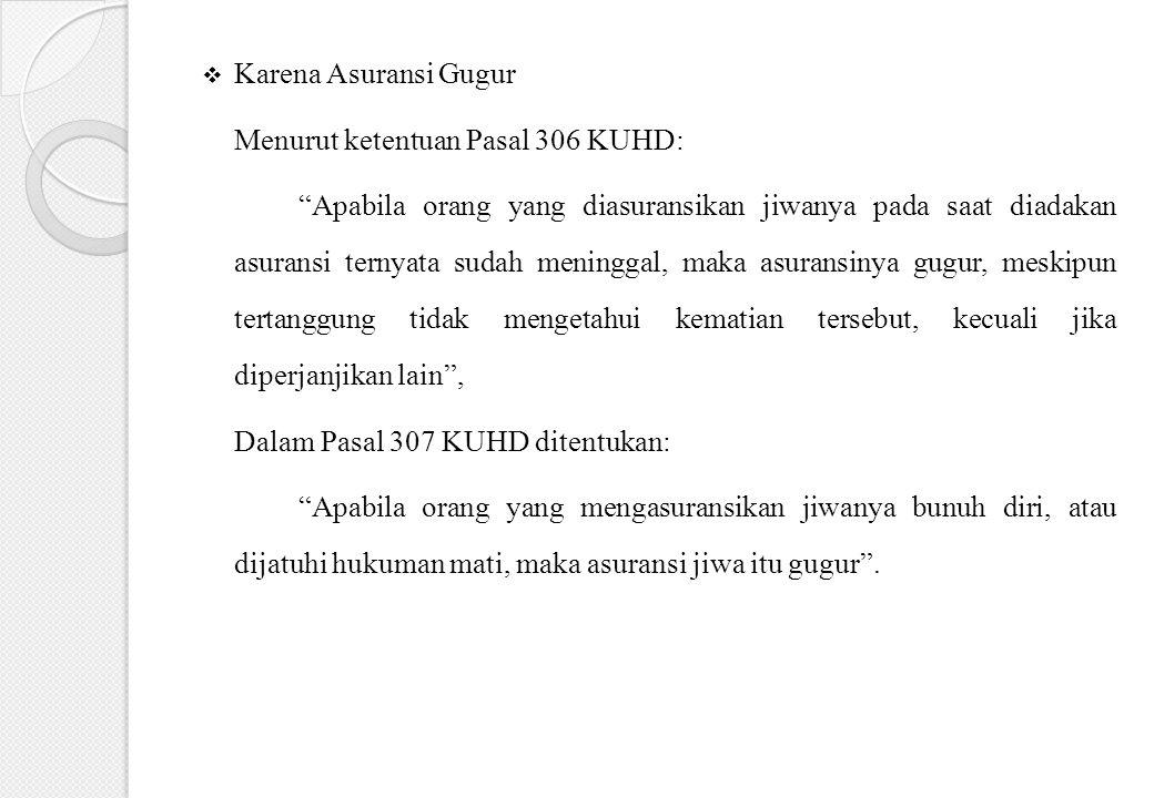 Karena Asuransi Gugur Menurut ketentuan Pasal 306 KUHD: