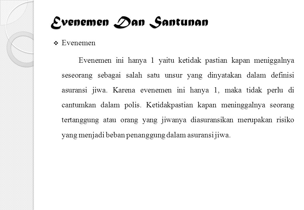 Evenemen Dan Santunan Evenemen