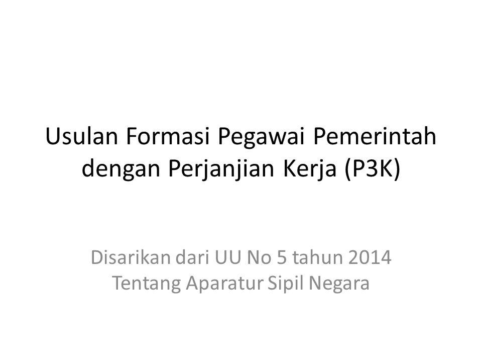 Usulan Formasi Pegawai Pemerintah dengan Perjanjian Kerja (P3K)