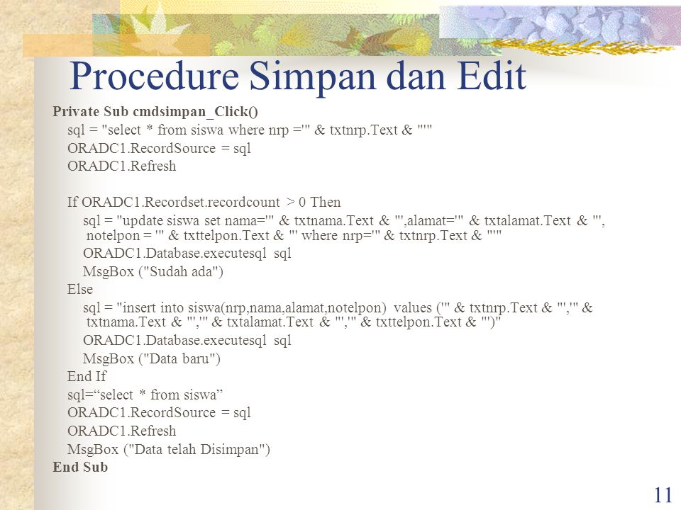 Procedure Simpan dan Edit