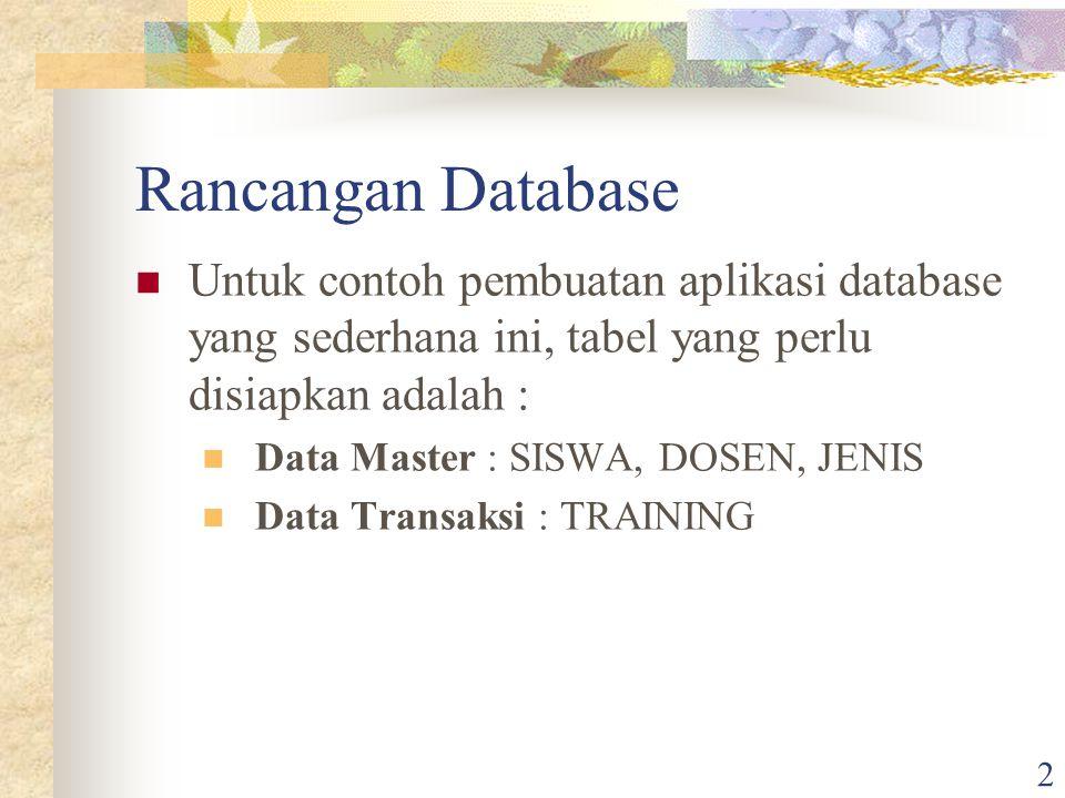 Rancangan Database Untuk contoh pembuatan aplikasi database yang sederhana ini, tabel yang perlu disiapkan adalah :