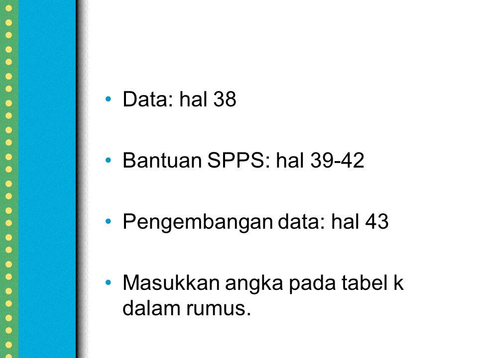 Data: hal 38 Bantuan SPPS: hal 39-42. Pengembangan data: hal 43.
