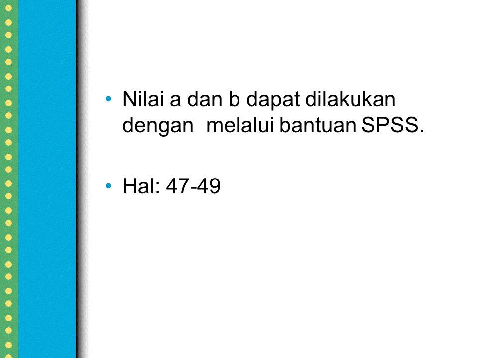 Nilai a dan b dapat dilakukan dengan melalui bantuan SPSS.