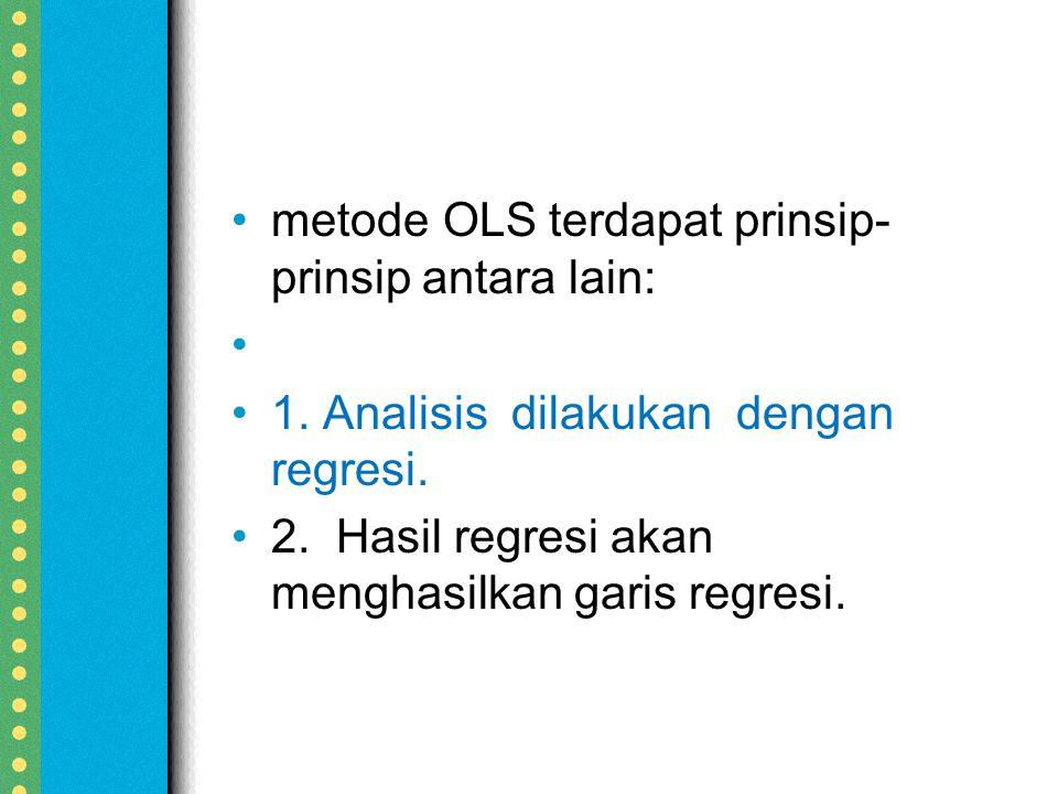 metode OLS terdapat prinsip-prinsip antara lain: