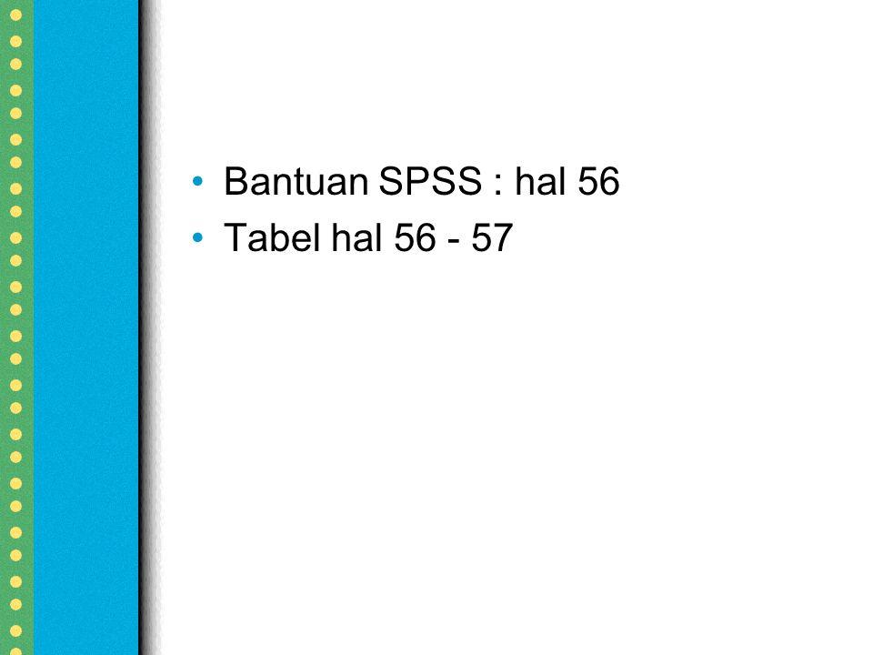 Bantuan SPSS : hal 56 Tabel hal 56 - 57