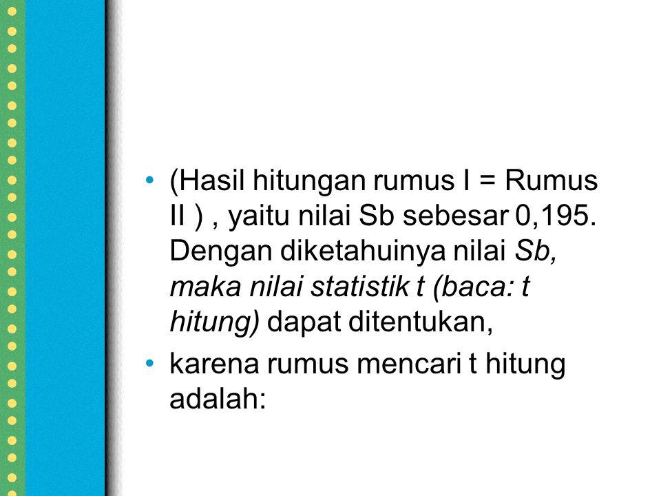 (Hasil hitungan rumus I = Rumus II ) , yaitu nilai Sb sebesar 0,195