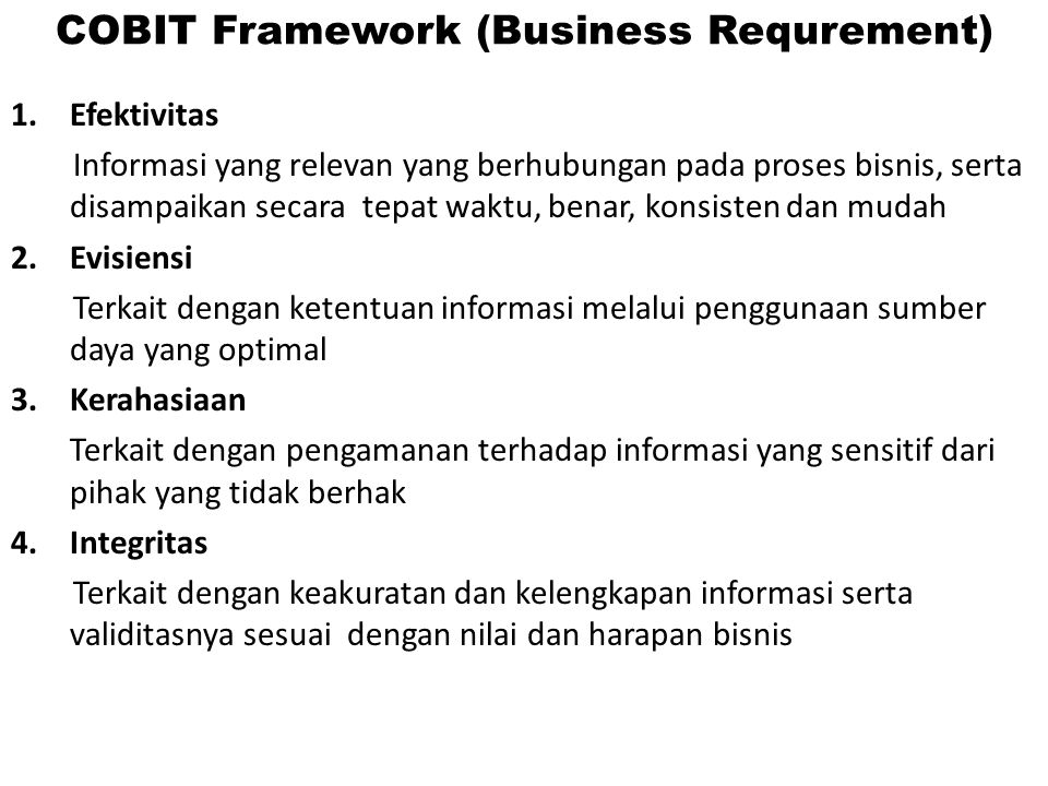 COBIT Framework (Business Requrement)