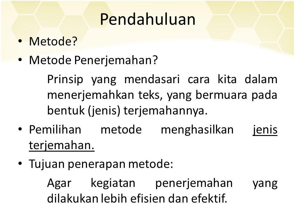 Pendahuluan Metode Metode Penerjemahan