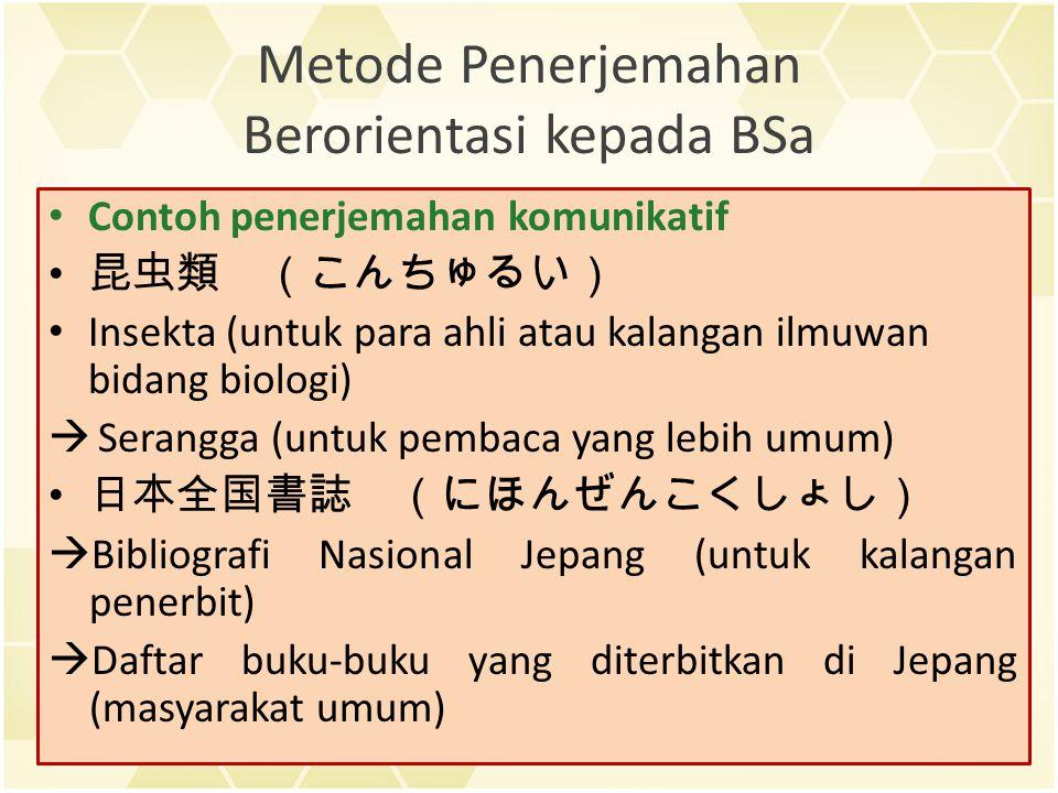 Metode Penerjemahan Berorientasi kepada BSa