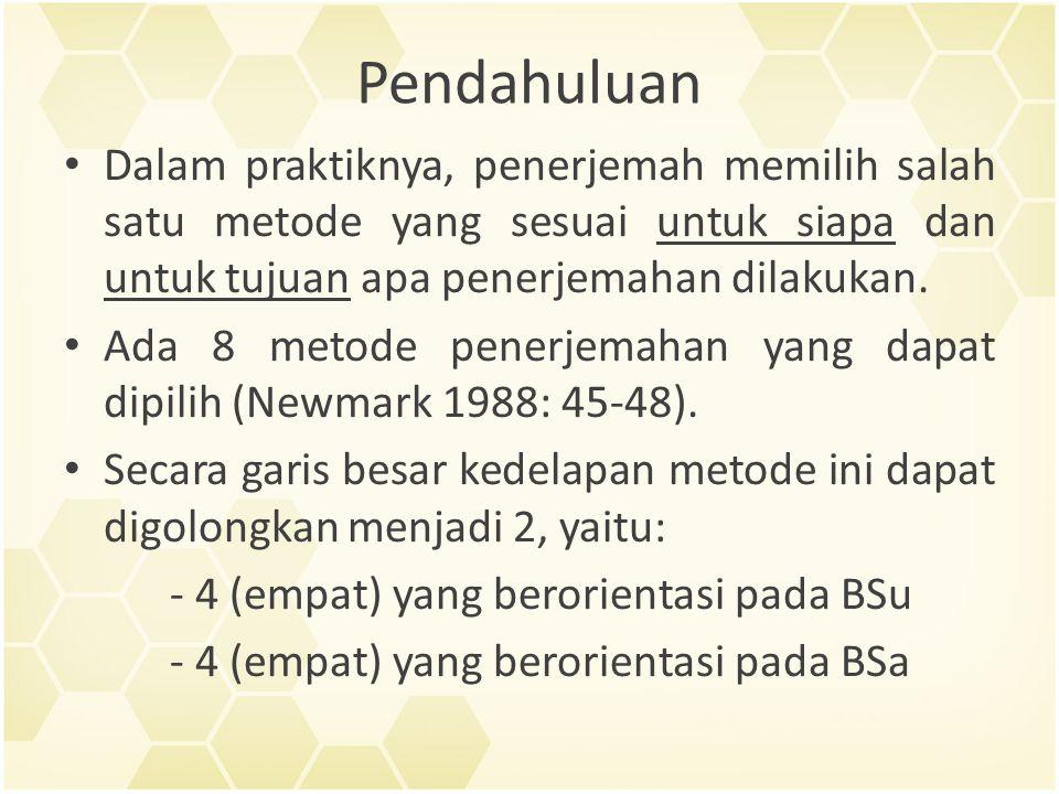 Pendahuluan Dalam praktiknya, penerjemah memilih salah satu metode yang sesuai untuk siapa dan untuk tujuan apa penerjemahan dilakukan.