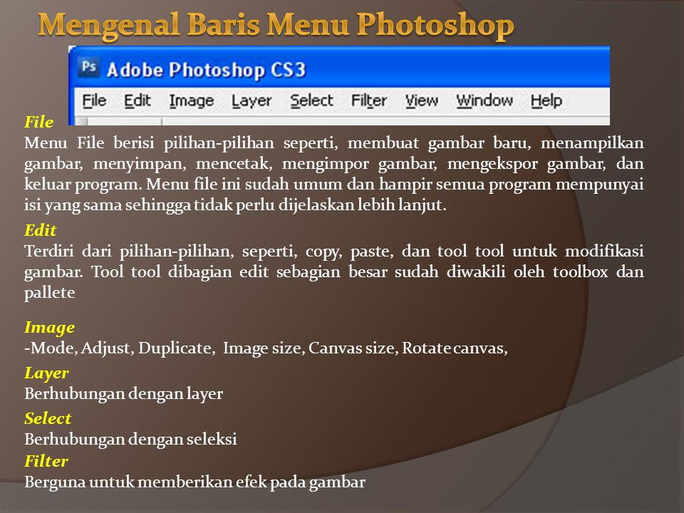 Mengenal Baris Menu Photoshop