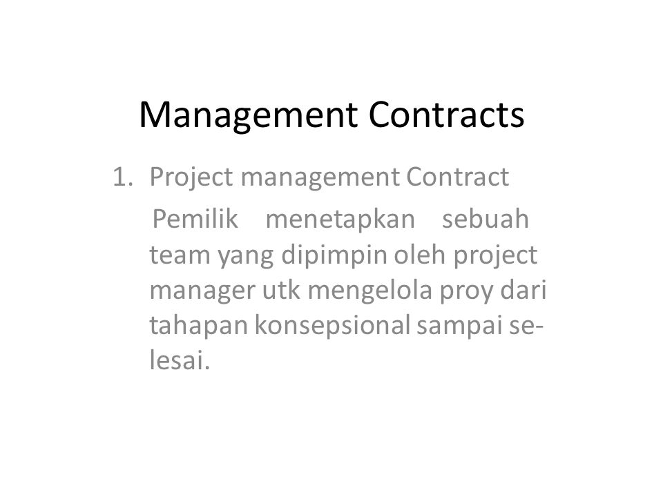 Management Contracts Project management Contract