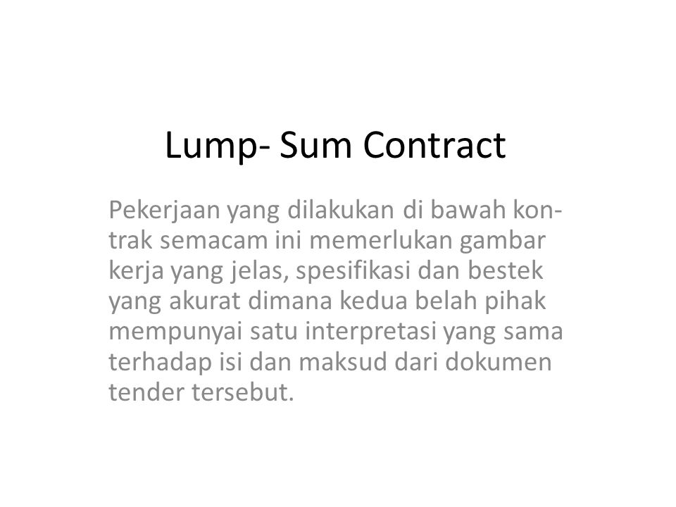 Lump- Sum Contract