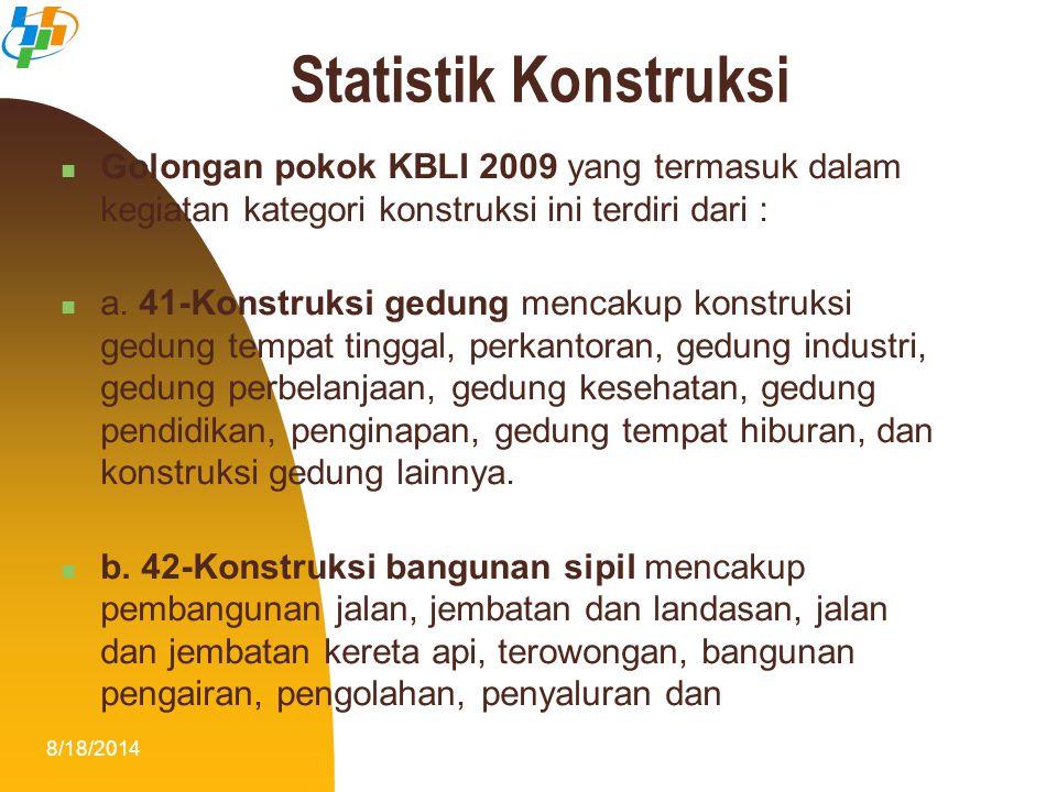 Statistik Konstruksi Golongan pokok KBLI 2009 yang termasuk dalam kegiatan kategori konstruksi ini terdiri dari :