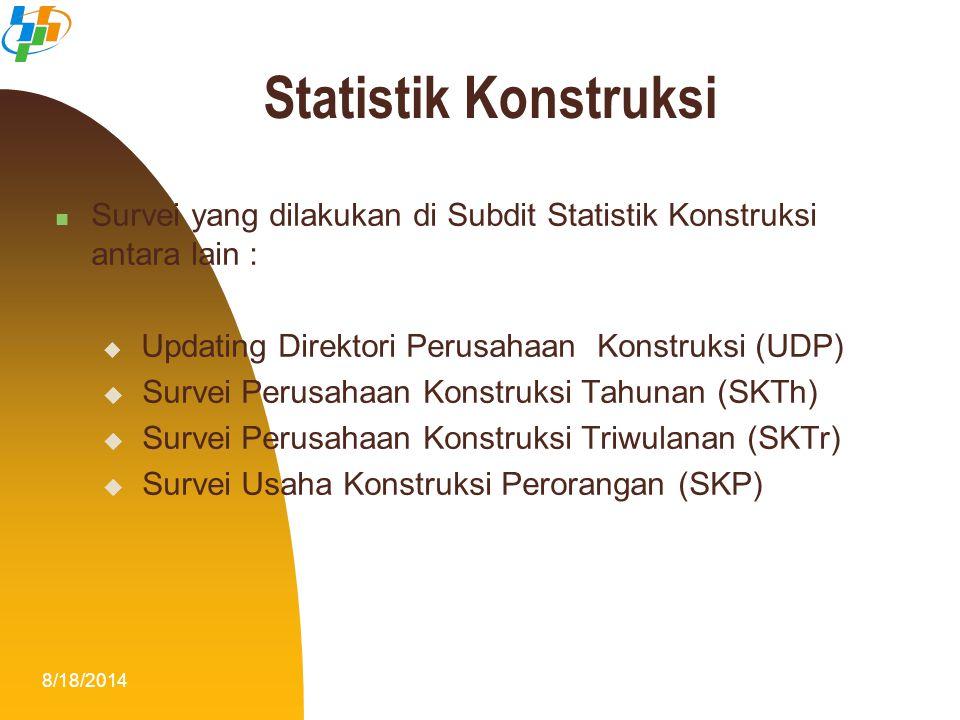Statistik Konstruksi Survei yang dilakukan di Subdit Statistik Konstruksi antara lain : Updating Direktori Perusahaan Konstruksi (UDP)
