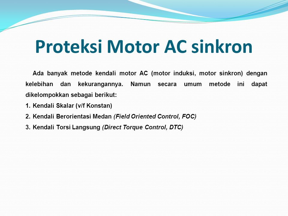 Proteksi Motor AC sinkron
