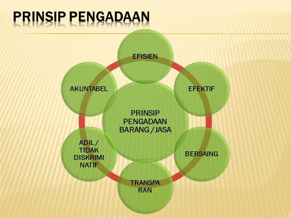 PRINSIP PENGADAAN BARANG /JASA ADIL / TIDAK DISKRIMI NATIF