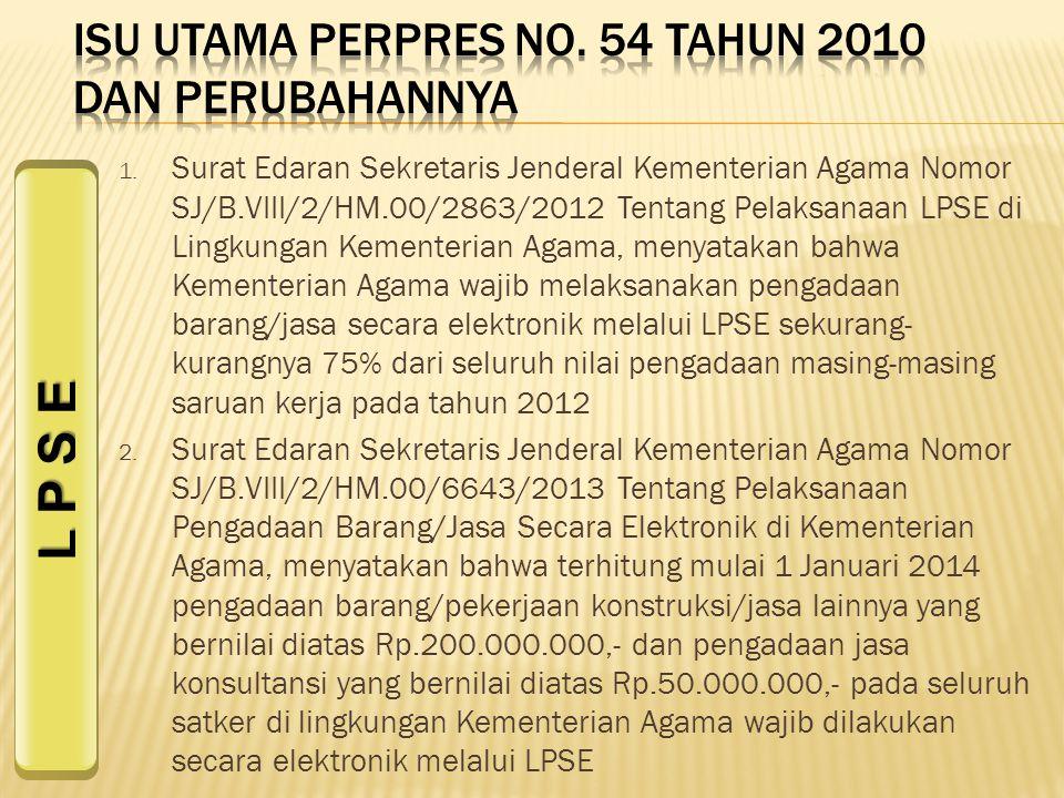 ISU UTAMA PERPRES NO. 54 TAHUN 2010 DAN PERUBAHANNYA