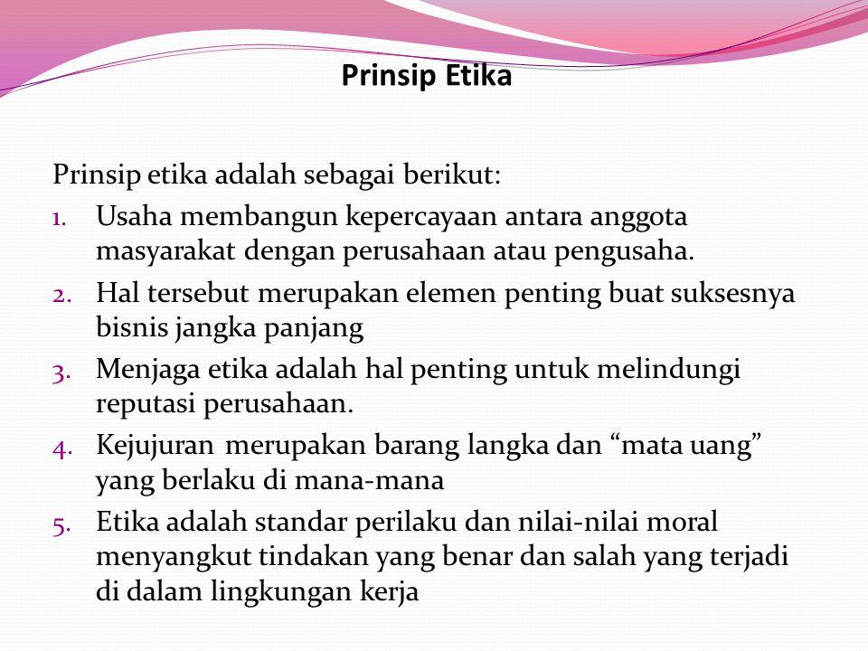 Prinsip Etika Prinsip etika adalah sebagai berikut:
