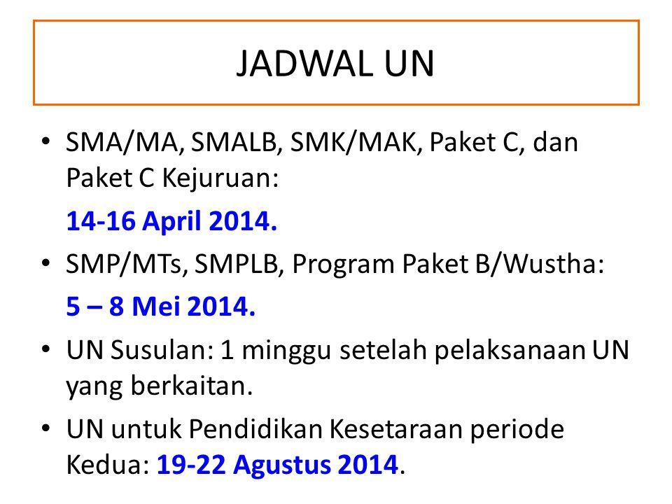 JADWAL UN SMA/MA, SMALB, SMK/MAK, Paket C, dan Paket C Kejuruan: