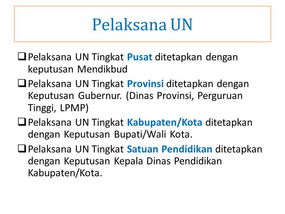Pelaksana UN Pelaksana UN Tingkat Pusat ditetapkan dengan keputusan Mendikbud.
