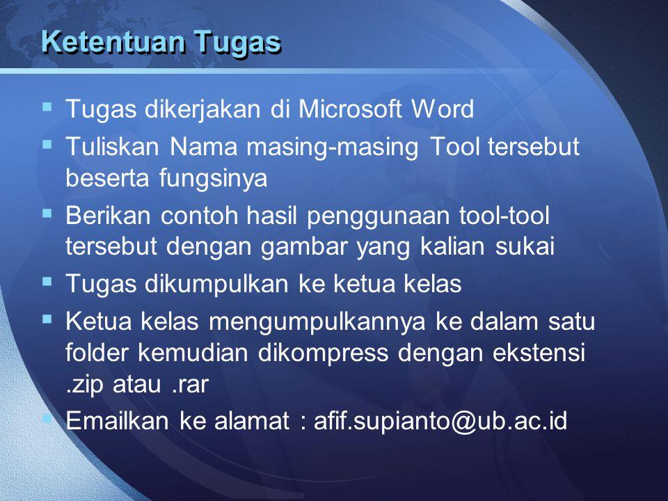 Ketentuan Tugas Tugas dikerjakan di Microsoft Word