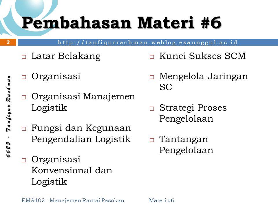 Pembahasan Materi #6 Latar Belakang Kunci Sukses SCM Organisasi