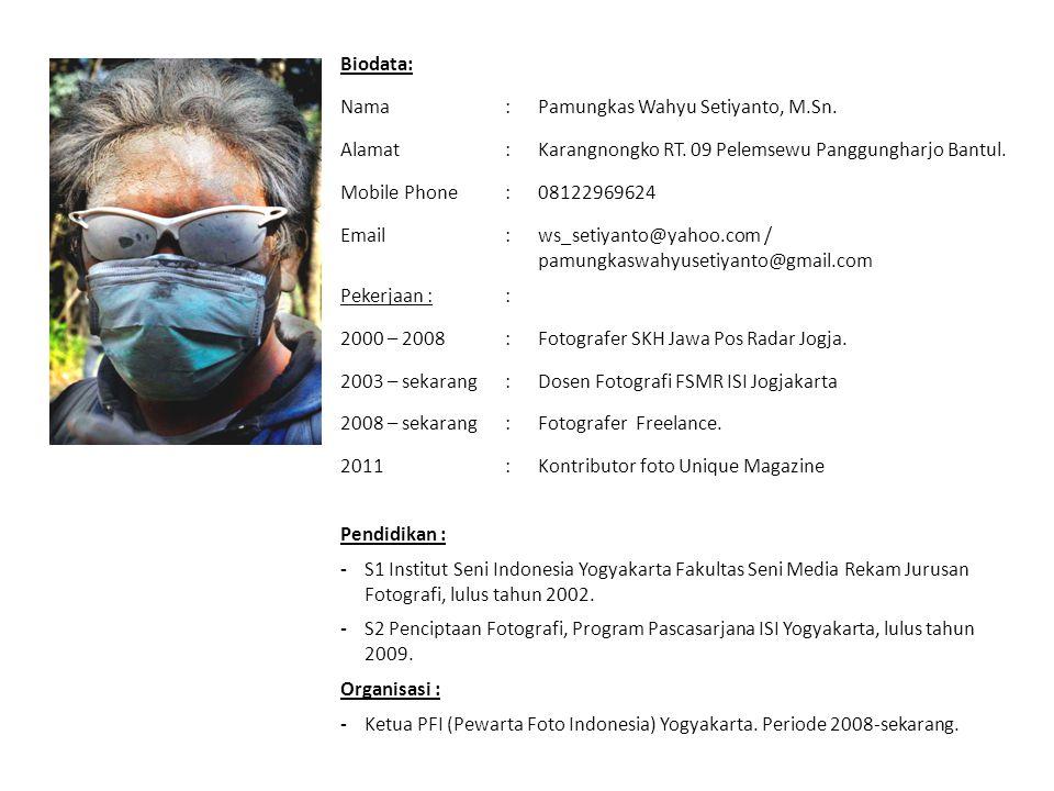 Biodata: Nama. : Pamungkas Wahyu Setiyanto, M.Sn. Alamat. Karangnongko RT. 09 Pelemsewu Panggungharjo Bantul.