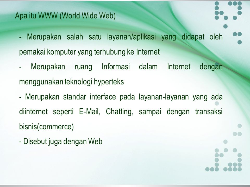 Apa itu WWW (World Wide Web)