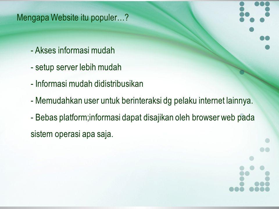 Mengapa Website itu populer…