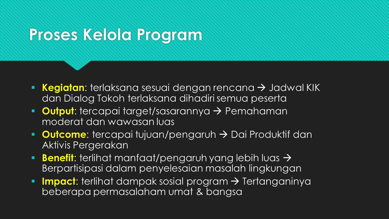 Proses Kelola Program Kegiatan: terlaksana sesuai dengan rencana  Jadwal KIK dan Dialog Tokoh terlaksana dihadiri semua peserta.